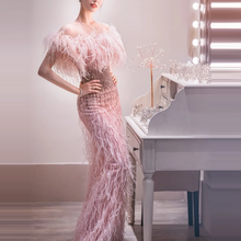 2020 Trendy Prom evening Dresses Mermaid Pink Beaded Tassels Formal Dinner Capped Sleeves Long marriage dating Long party Gowns