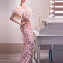 2020 Trendy Prom suknie wieczorowe syrenka różowy zroszony frędzle formalna kolacja rękawy długie małżeństwo randki długie suknie party