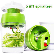 Multifunctional Handheld Spiralizer Vegetable Slicer Adjustable Cutter with Container Noodle Spaghetti Maker Spiral Slicer