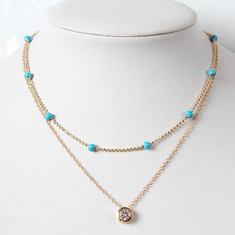 Handmade Zircon Crystal Double Clavicle Chain Necklace Personality Beaded Pendant Necklaces for Women Fashion Neck Jewelry XL743