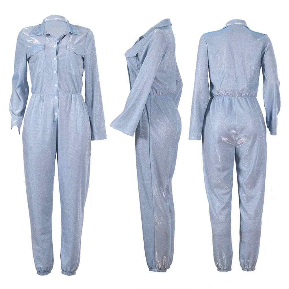 Lange Mouw Cargo Jumpsuit Vrouwen Jogger Broek Shiny Sequin Romper Coltrui Single Breasted Button Streetwear Stijlvolle Herfst