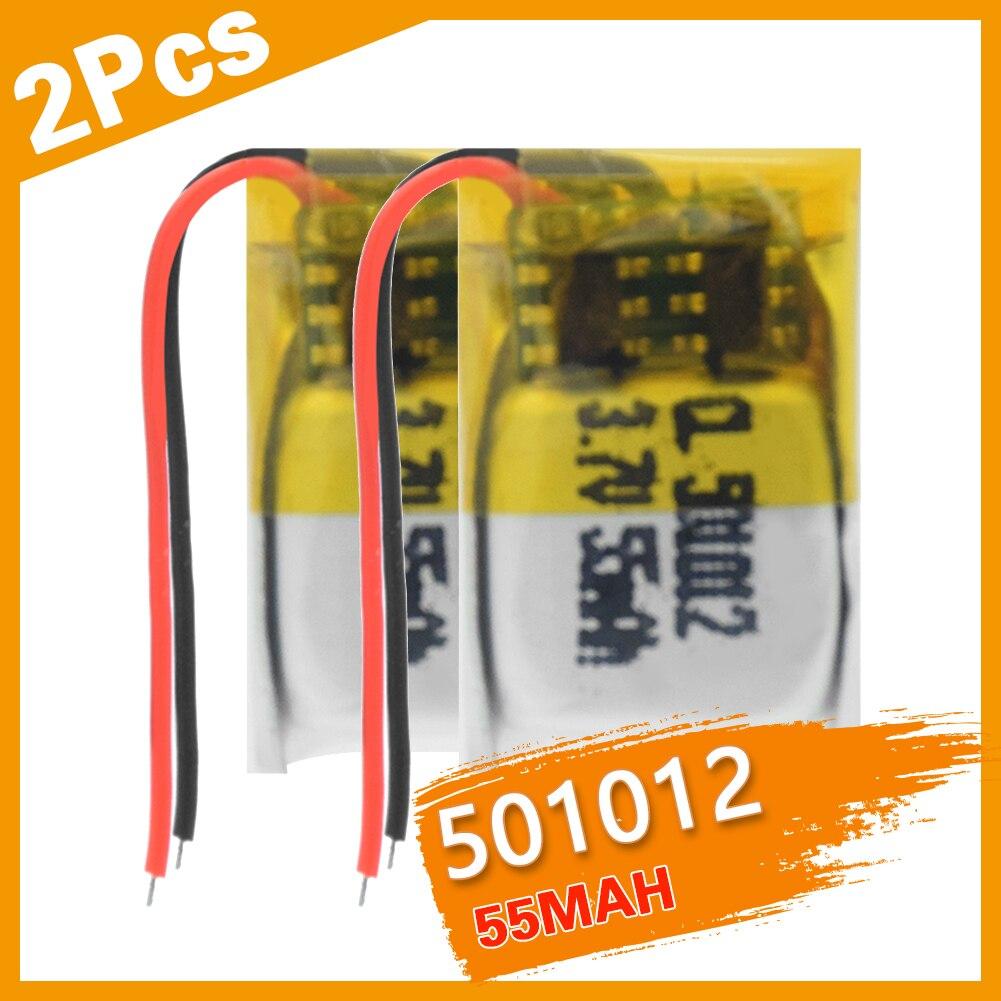 2 шт 3,7 V 501012 55 мА/ч, литий-полимерный Сотовый литиевая полимерная аккумуляторная батарея для MP3 MP4 DVD GPS Автомобильный регистратор Bluetooth гарнитура игрушка