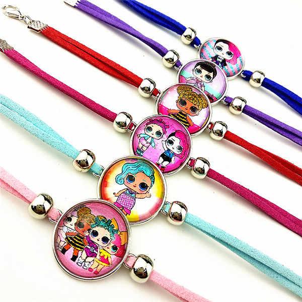 24 pièces De Dessin Animé fille breloque en verre perles bracelets bracelet collier porte-clés anneau Boucles D'oreilles Bijoux série pour filles cadeau de fête
