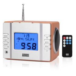 August MB300 Wood Mini Portable Radio Receiver with MP3 Player FM Radio USB In/Aux IN/SD Card/Alarm Clock Speakers Rechargeable