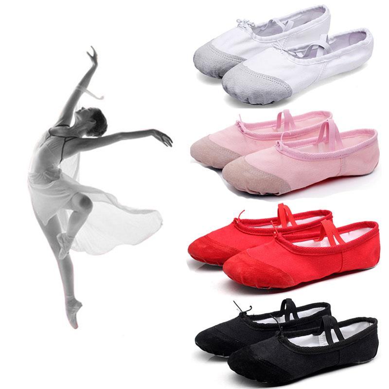 Canvas Ballet Flats Soft Balleria Dance Shoes For Women Split Cow Leather Outsoles Latin Yoga Dance Sport Girls Toe Ribbon S