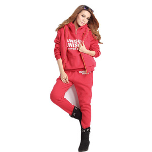 Image 3 - Plus Size M 6XL Casual Letter Hooded Fleece Sweatshirt Three Pieces Set Autumn Winter Women Suit Warm Velvet Womens Tracksuits