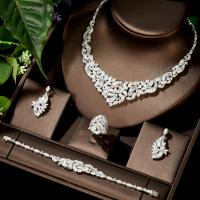 Hibride Nigeria 4pcs Bridal Zirconia Necklace Sets For Women Jewelry Sets & More Dubai Nigeria CZ Crystal Wedding Jewelry Sets
