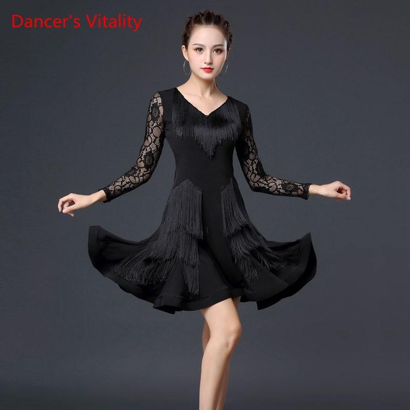 Danse latine nouvelle femme adulte Sexy robe Rumba Samba danse Performance Costume gland poisson os jupe pendule pratique vêtements