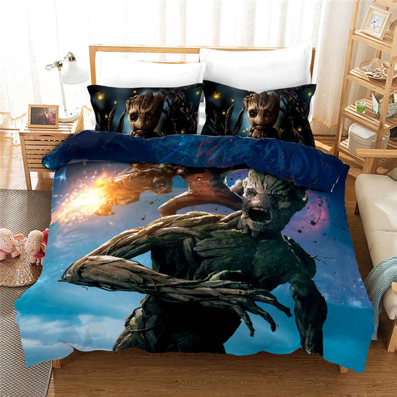 3D Marvel Guardians of the Galaxy Film Groot Bedding set Twin Size Quilt Duvet Cover Queen Bedspread for Kids Bedroom Decor 3pcs image