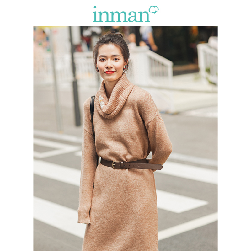 INMAN Winter Literary Retro Embroidery Loose Scarf Knitted Long Sleeve Women Dress
