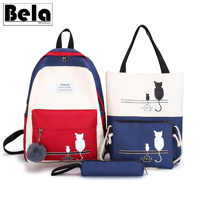 BelaBolso, 4 комплекта, рюкзак для ноутбука, Женская Подростковая дорожная сумка, школьная сумка на плечо с панелями для девочек, женская сумочка HMB757 Рюкзаки    АлиЭкспресс