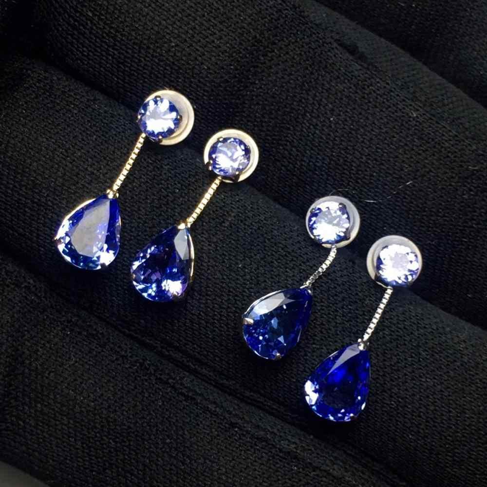 Feine Schmuck Echt Reine 18 K Weiß Gold AU750 100% Natürliche Blaue Tanzanite Edelsteine 2.2ct Tansania Herkunft Drop Ohrringe für frauen
