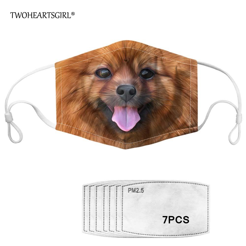 Twoheartsgirl Pomeranian Prints Face Mask For Women Kids Washable Mouth Mask Anti-dust Men Mascaras With 7pcs Filter Reusable