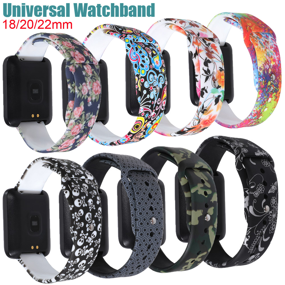 18/20/22mm Watchband For Samsung Gear Sport/Amazfit Bip Bit/Huawei/Garmin Soft Silicone Strap Printing Replacement Bracelet Belt