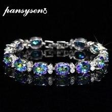 PANSYSEN Vintage Rainbow Topaz bransoletki dla kobiet Luxury Charms srebrna bransoletka bransoletka kobieta Wedding Party elegancka biżuteria na prezent