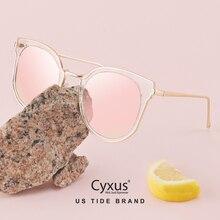 Cyxus Mode Cat Eye Zonnebril Vrouwen Retro Transparante Frame Merk Zonnebril 1713