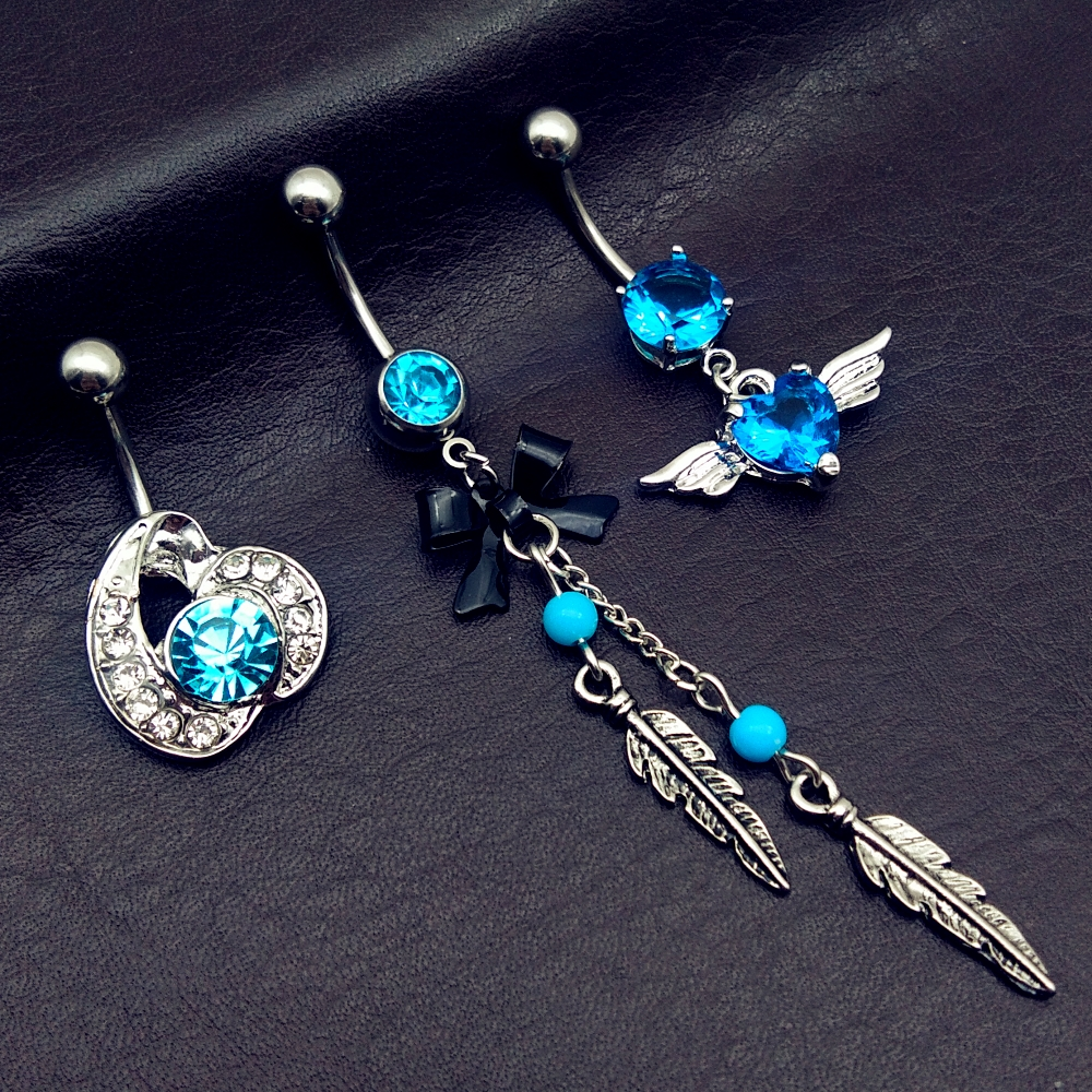 Jewelry Button-Rings Navel Belly-Bar Body-Piercing Heart Dangling New-Arrivals Blue Bow