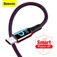 Baseus-Cable de Alimentación inteligente 3A, conector USB tipo C, Cargador rápido, para Samsung S10, S9, Note 10, Oneplus 7, 6t, 6 USB-C, USBC