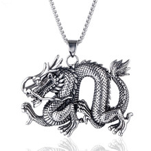 Male Fashion Personality Stainless Steel Dragon Necklace Pendant for Motorcycle Party Steampunk Cool Biker Necklace Jewelry beier stainless steel biker jason voorhees hockey halloween mask pendant necklace with red colour antique cool jewelry bp8 362