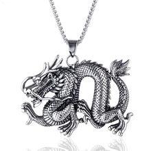 Collier Dragon en acier inoxydable pour hommes, pendentif pour fête en moto, Steampunk Cool Biker, bijoux