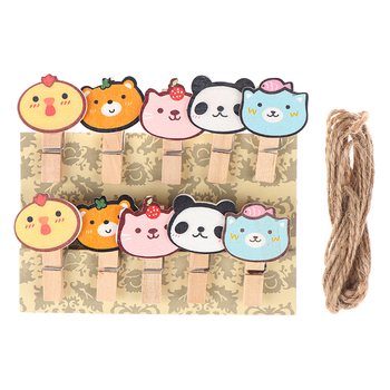 10 pcs/lot Cute Mini Cartoon Animal Wood Clip Set /  Small Craft Photo Pegs Kawaii Stationery DIY Pattern Clips