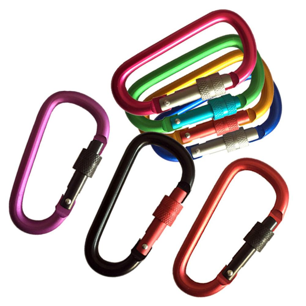 Climbing Carabiner Keychain Safety Outdoor Pendant Aluminum Alloy Thread With Lock Mini Buckle Hook For Mountaineering Camping