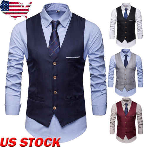 Hot Mannen Formele Zakelijke Solid V-hals Slim Fit Work Party Dress Vest Tuxedo Casual Vest