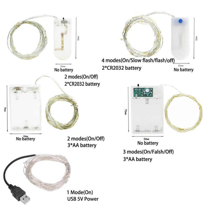 LEDเงินลวดGarlandขับเคลื่อนโดย 5V USB Fairyคริสต์มาสตกแต่งงานแต่งงาน