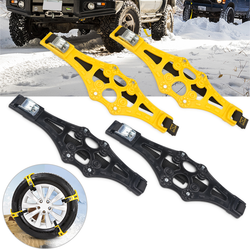 4PCS/Set Vehicle Car Snow Tire Anti-Skid Chains Belt Strap Adjustable Universal Winter Auto Anti Slip Tyre Chains For Mud Snow