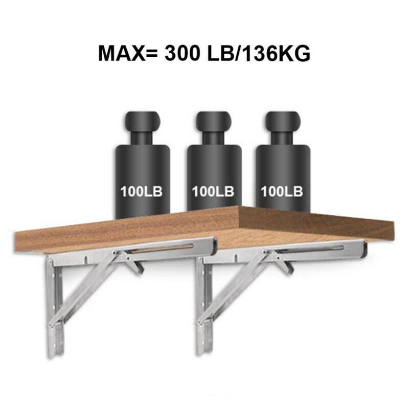 Bearing 136KG Triangle Folding Angle Bracket Heavy Support Adjustable Wall Mounted Bench Table Shelf Bracket Furniture Hardware