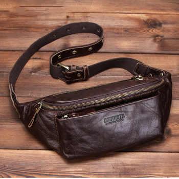 Saco de cintura masculina de couro genuíno para o telefone bolsa de viagem fanny pacote peito masculino saco da cintura cinto dinero homem bolsa