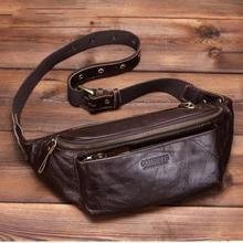 Bolso de Cintura para hombre de cuero genuino para teléfono de viaje riñonera bolsa de pecho para hombre Heuptas Saco Da Cintura Cinturon dinero hombre bolsa