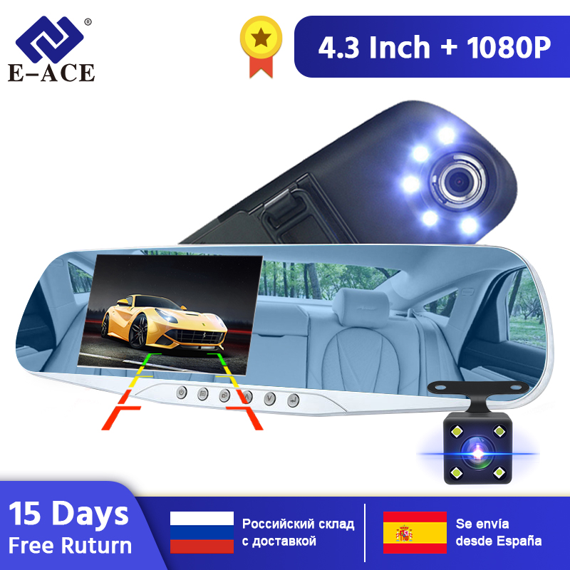 E-ACE Car Camera Rearview Mirror DVR Dual Lens Digital Video Recorder Auto Registrator 5 Led Lights Night Vision Full HD 1080P