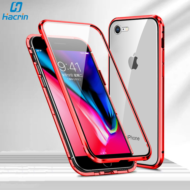 Case For iPhone SE 2020 Case Luxury Dual Tempered Glass Metal Magnetic Hard Cover For iPhone SE2 SE 2 Case Protective Bumper