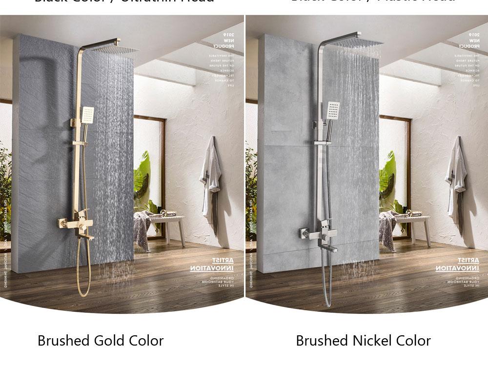 Hb8604f8ba9e64fd4a3efc722899c62019 POIQIHY Black Bathroom Shower Faucet Set Wall Mount Black 8''Rainfall Shower Head With Handheld Sprayer Bathtub Shower Mixer