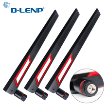 Dlenp 3pcs/set 2.4Ghz 5Ghz 5.8Ghz Dual Band Antenna for WIFI Router 12dBi Antenna with RP SMA Male Connector (hole)