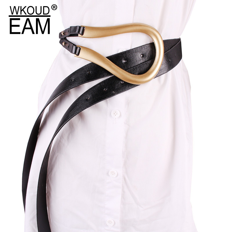 WKOUD EAM 2020 New Vintage Personality Metal Arc Horseshoe Buckle Leather Corset Belt Female Casual Classical Waistband PE065