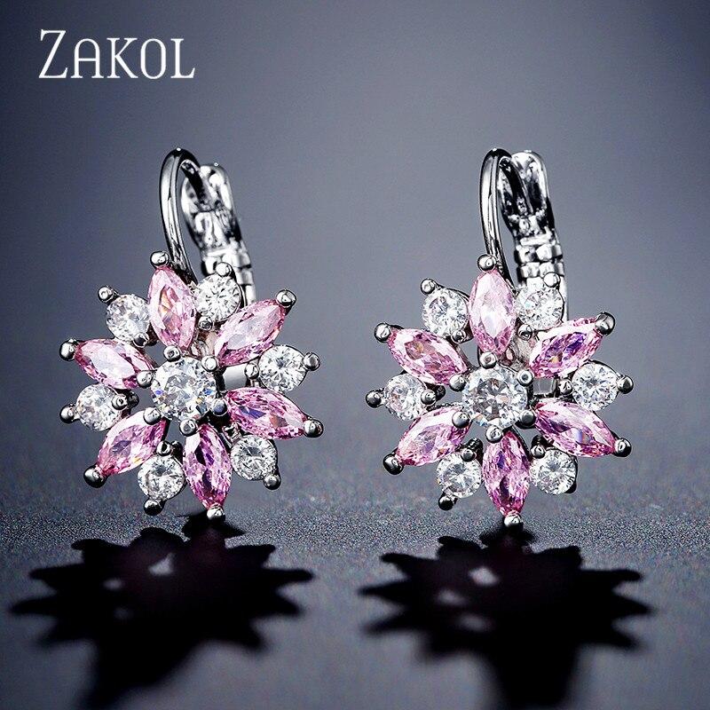 ZAKOL Мода розовое золото Цвет цветок обруч серьги кластера прозрачного хрусталя циркония серьги для Для женщин ювелирные Brincos FSEP609 - Окраска металла: Pink