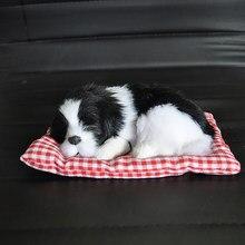 Décoration de voiture en peluche ABS pour chiens, jouet de Simulation de chien endormi, décoration de tableau de bord automobile, accessoires de voiture