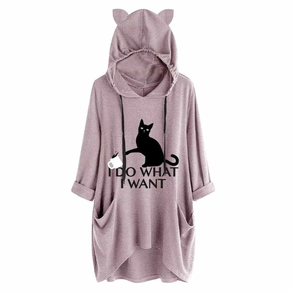 New Women Casual Hoodies Print Cat Ear Hooded Long Roll Up Sleeve Pocket Irregular Top Blouse Feminine Oversize Sweatshirts#Y6