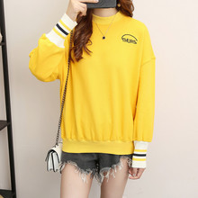 Spring Fall Winter Women Fashion Sweatshirt Yellow Kind Letter Print Casual Loose Blouses round neck Pullover Hoodies Coat C378