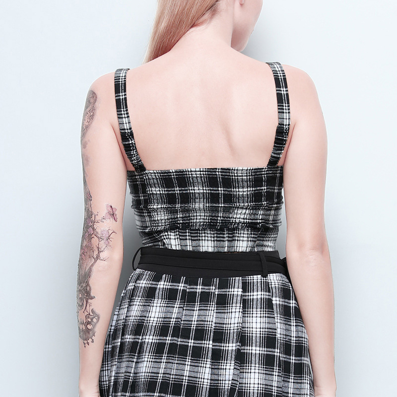 Fitshinling Zip Up Gothic Women Camis 2019 Strap Crop Top Female Goth Dark Slim Sexy Vest Harajuku Checker Camisole Femme Sale in Camis from Women 39 s Clothing