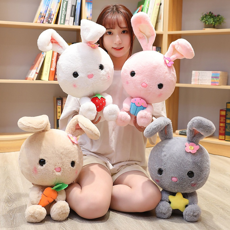 50cm Beautiful Hairy Rabbit Plush Toy Soft Cartoon Animal Four Colors Bunny Stuffed Doll Baby Appease Toy Valentine's Day Gift