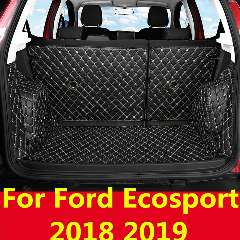 lsrtw2017 for ford ecosport leather car trunk mat 2013 2014 2015 2016 2017 2018 2019 2020 cargo liner interior carpet - title=