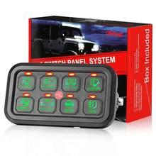 Panel de Control táctil delgado para camión, barco, Jeep, ATV, caja de relé de Control de circuito, LED verde, 8 entradas, Envío Gratis