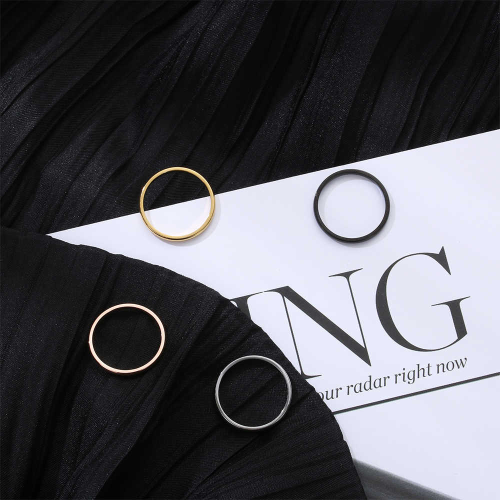 Simple Design 2mm Thin Stackable Ring Punk Stainless Steel Plain Band Party Jewelry for Women Girl Size 3-10 Fashion