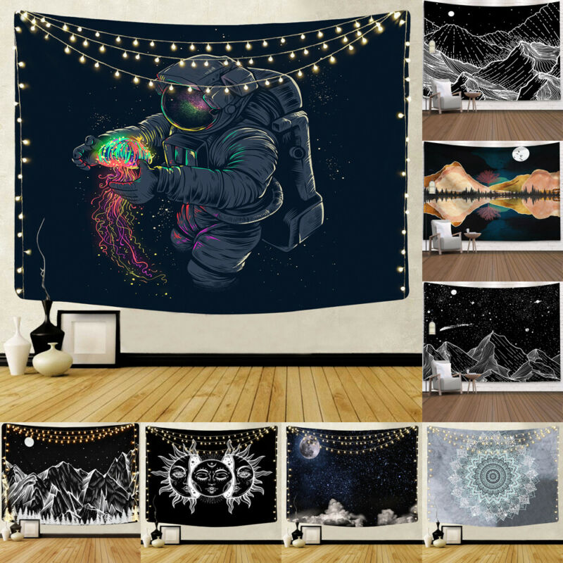 Psychedelic Starry Sky Sun Moon Mandala Tapestry Wall Hanging Celestial Wall Tapestry Hippie Wall Carpets Dorm Decor Tapestry