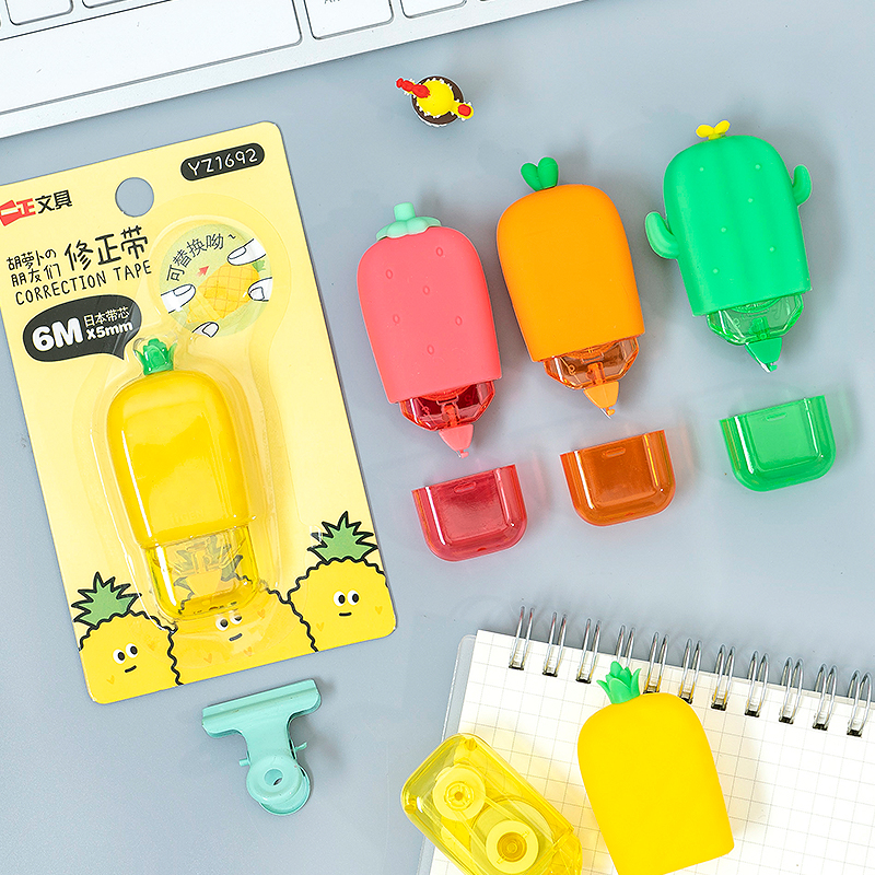 1X 6m Cute Cartoon Carrot Cactus Pineapple Strawberry Correction Tape Pen Ink Erase Tape School Office Supply Student Stationery