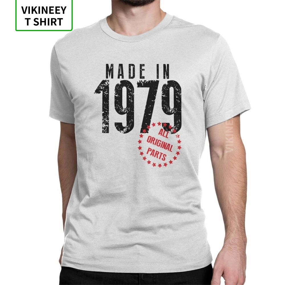 Made In 1979 All Original Parts T-Shirt Man's Short Sleeves Birthday T Shirt Anniversary Tees Cotton Fabric Clothes Plus Size