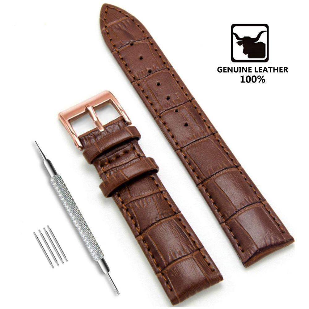Genuine <font><b>Leather</b></font> Watchbands 12/14/16/18/19/20/<font><b>22</b></font>/24 <font><b>mm</b></font> <font><b>Watch</b></font> Steel Pin buckle <font><b>Band</b></font> Strap High Quality Wrist Belt Bracelet + Tool image